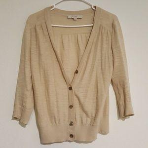Ann Taylor Beige Cardigan Button Up Sweater